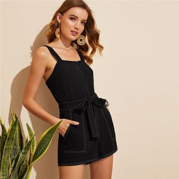Pocket Patched Belted Contrast Stitch Romper Women Black Square Neck Mid Waist Playsuit Solid Sleeveless Jumpsuit