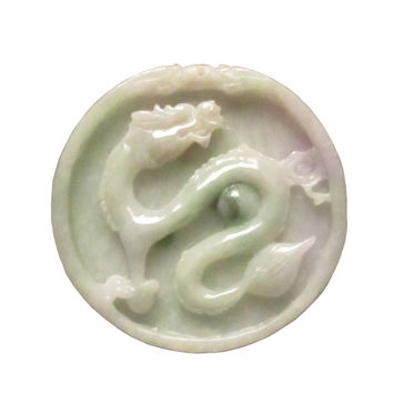 Chinese Natural Jade Carved Dragon Fortune Motif Pendant k323s