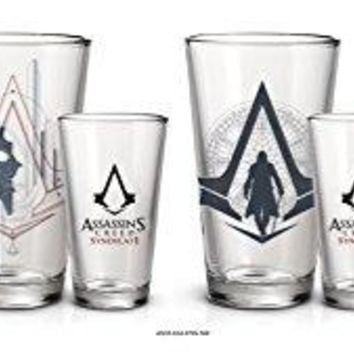 4-Pack GIFT SET 16oz Official Assassin's Creed Syndicate Cleared PREMIUM Pint Glass Novelty GIFT SET with Assassin's Creed character and logo printed