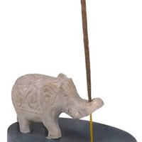 Hand-Carved Stone Elephant Incense Holder
