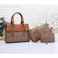 Coach Women Leather Handbag Shoulder Bag Crossbody Purse Wallet Set Three Piece Brown