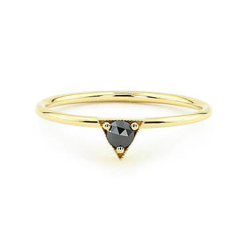 Black Rose Cut Diamond Solitaire Ring in 14k Solid Gold / Stackable Rose Gold Black Diamond Engagement Ring / Rose Gold Promise Ring