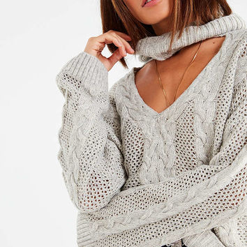 UO Cable Knit Cut-Out Sweater   Urban Outfitters