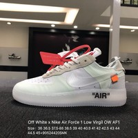 Off White x Nike Air Force 1 Low Virgil OW AF1 White Skateboarding Shoes Sneaker - AO4606-100