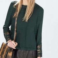 Lace Accent Long Sleeve Chiffon Blouse