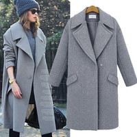 Fashion Solid Color Bodycon Wool Coat 5098154