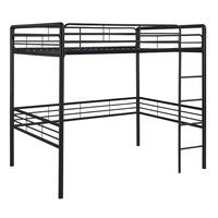 Full Size Contemporary Black Metal Loft Bed With Ladder