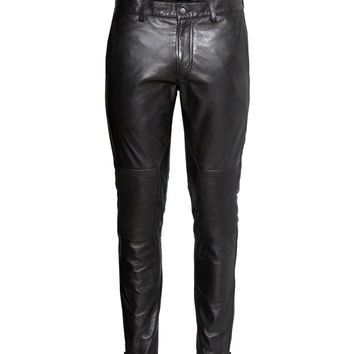 H&M - Leather Biker Pants - Black - Men
