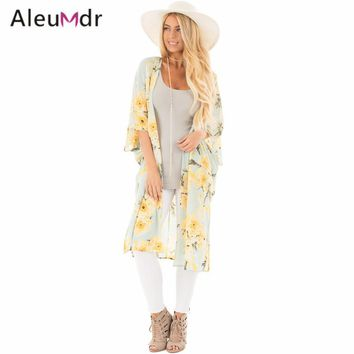Aleumdr New 2017 Summer Womens Bathing Suit Cover-ups Floral Side Slit Boho Kimono Beach Tunic LC42216 Saida De Praia