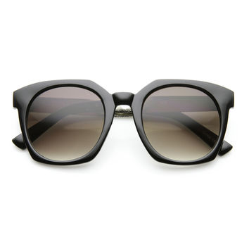 Oversize Metal Temple Square Frame Womens Horned Rim Sunglasses 9612