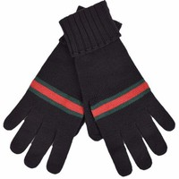Gucci Men's Black Green Red Web Stripe Wool Winter Mittens