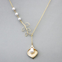 Cara, Lilly, Sideways, Branch, Triple, Pearls, Lariat, Gold, Silver, Necklace, Modern, Tree, Jewelry, Lovers, Friends, Gift, Jewelry