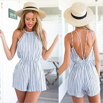 New Summer Women Jumpsuits Casual Sleeveless Slim Striped Loose Backless Party Rompers  Plus Size XL Female Playsuits