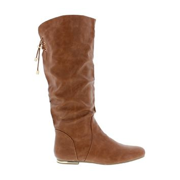 Mid Calf Back Lace Boot (TAN)