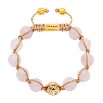 Women's 14K Gold Collection With Gold Logo Bead And Rose Quartz