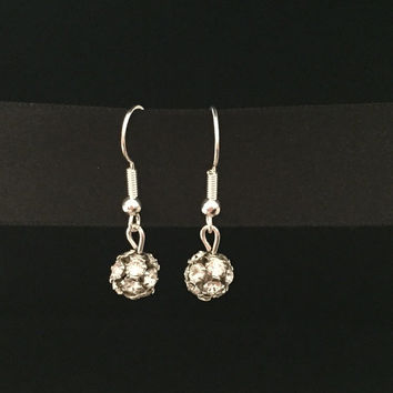Handmade Diamante Cluster Round Earrings
