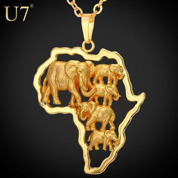 Women's Chain Necklaces Art World Map Africa Elephant African Pendant lace