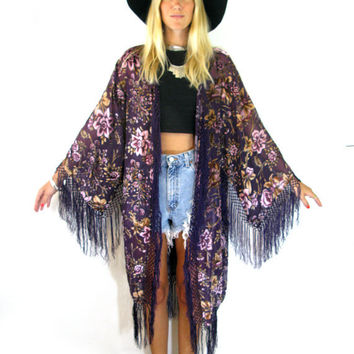 Purple FLORAL Velvet BURNOUT Long Fringe Duster KIMONO Jacket Boho Gypsy Women's Outerwear