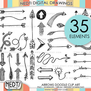 35 Hand Drawn Arrows Clip Art, Whimsical Arrow Doodle Clipart, Instant Download, Personal Commercial OK