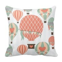 Pastel Hot Air Balloons Rising Stripes Pillow