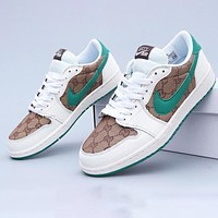 GUCCI x Nike Air Jordan 1 Men Women Casual Sport Running Shoes Sneakers(Green Hook)