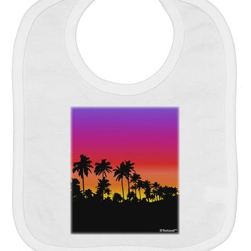 Palm Trees and Sunset Design Baby Bib by TooLoud