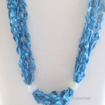 ON SALE Crochet Necklace Casual Jewelry Necklace Aqua Teal Bead Necklace Ladder Yarn Necklace Crocheted Boho Necklace