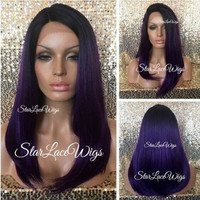 Long Straight Purple Lace Front Wig - Dark Roots - Side Part - Heat Resistant Safe - Cosplay Wig