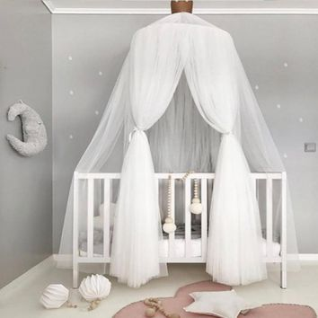 Veils Mosquito Nets Baby Bed Valance Children Bed Curtain Hang Dome Mosquito Net Kids' Room Decor Portable Folded Free Shipping