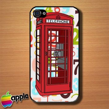 Red Phone Box London Telephone British Custom iPhone 4  4S Case Cover