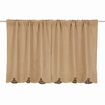 Burlap with Navy Check Tier Curtains 36""
