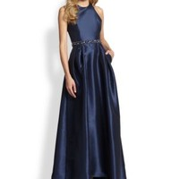 enabled: truelabel: ML Monique Lhuillier-Two Toned Cross-Back Beaded Gown