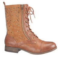 Brown Colby Jeweled Combat Boot - Brown
