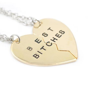 2 Parts Broken Heart Pendants Best Bitches Gold Sliver Plated Women Necklace Jewelry Accessories Fashion Charming