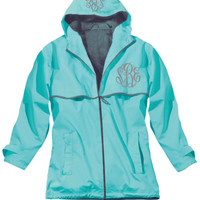 AQUA Monogrammed Rain Jacket -Womens - Personalized - Adult Sizes
