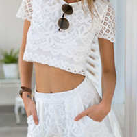 White Crochet Lace Short Sleeve Terno