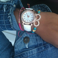 Stack Set of 3 Rhinestone Infinity and Cross Bracelets Watch Included Rose Gold White Turquoise and Pink