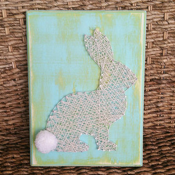 READY to SHIP Easter Bunny String Art Sign, Pastel Blue and Green Rabbit Nail Art, Wooden Easter Home Decor Sign, Petter Cotton Tail Sign