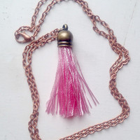 Silk Bright Pink Tassel Necklace with 24 inch Copper Chain, Gift Box Included