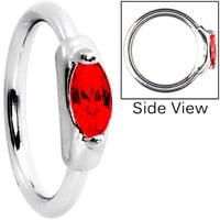 Silver 925 Red Austrian Crystal Closure Ring | Body Candy Body Jewelry