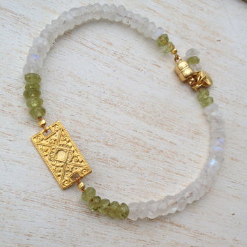 Peridot Gemstone Bracelet, Moonstone Beads, Gold Vermeil Filigree Connector, Faceted Peridot and Moonstone Beads, Tennis Style Bracelet