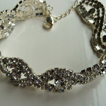Beautiful  White Clear Rhinestone Cocktail Bracelet