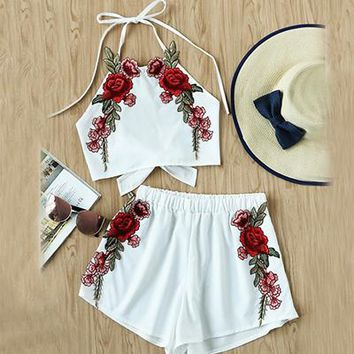 Women Bow Tie Brief Halter Top And Shorts  Sexy Open Back Vintage Two Piece Set