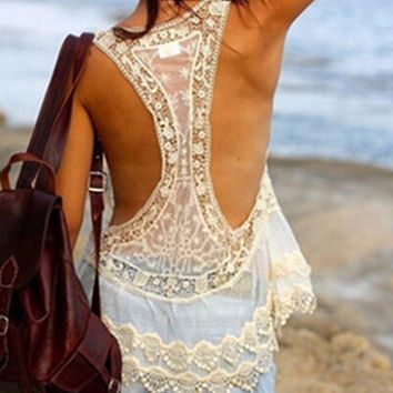 BONJEAN Newly Women Sexy Beach Cover Up Dress Crochet Knitted Mesh Patckwork  Hollow Out Lace Cover-ups Summer Swimming Swimwear