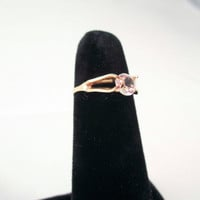 Gold Ring with LArge faux Diamond Stone SIze 5 Engagement Vintage