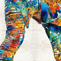 Colorful Elephant Art By Sharon Cummings Print