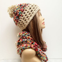 FREE SHIPPING - Chunky Hat & Cowl - Tan, Multi, Rainbow, Red, Orange, Yellow, Green, Blue, Purple, Black, White, Pink