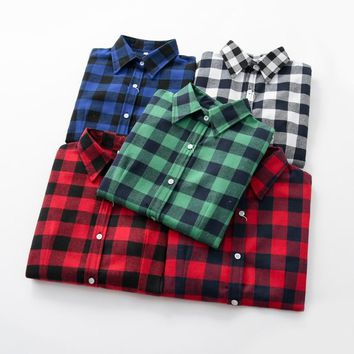Women Blouses Brand New Excellent Quality Flannel Red Plaid Shirt Women Cotton Casual Long Sleeve Shirt Tops Lady Clothes
