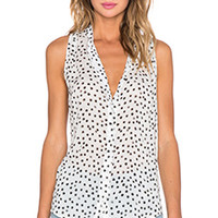 Bella Dahl Sleeveless Pleat Tank in Black Printed Dots