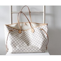 LV Louis Vuitton Popular Classic Women Fashion Shopping Bag Leather Tote Handbag Shoulder Bag Zipper Purse Wallet And Key Pouch-Coin Purse White Plaid I